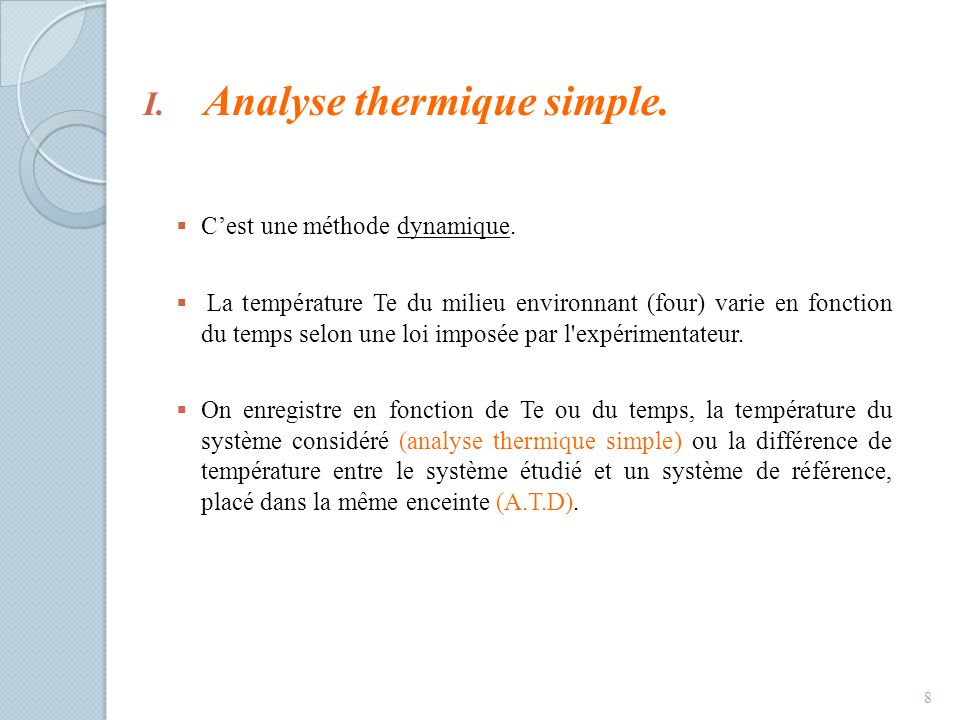 Analyse thermique simple.