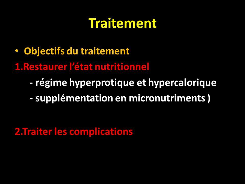 Traitement Objectifs du traitement 1.Restaurer l'état nutritionnel