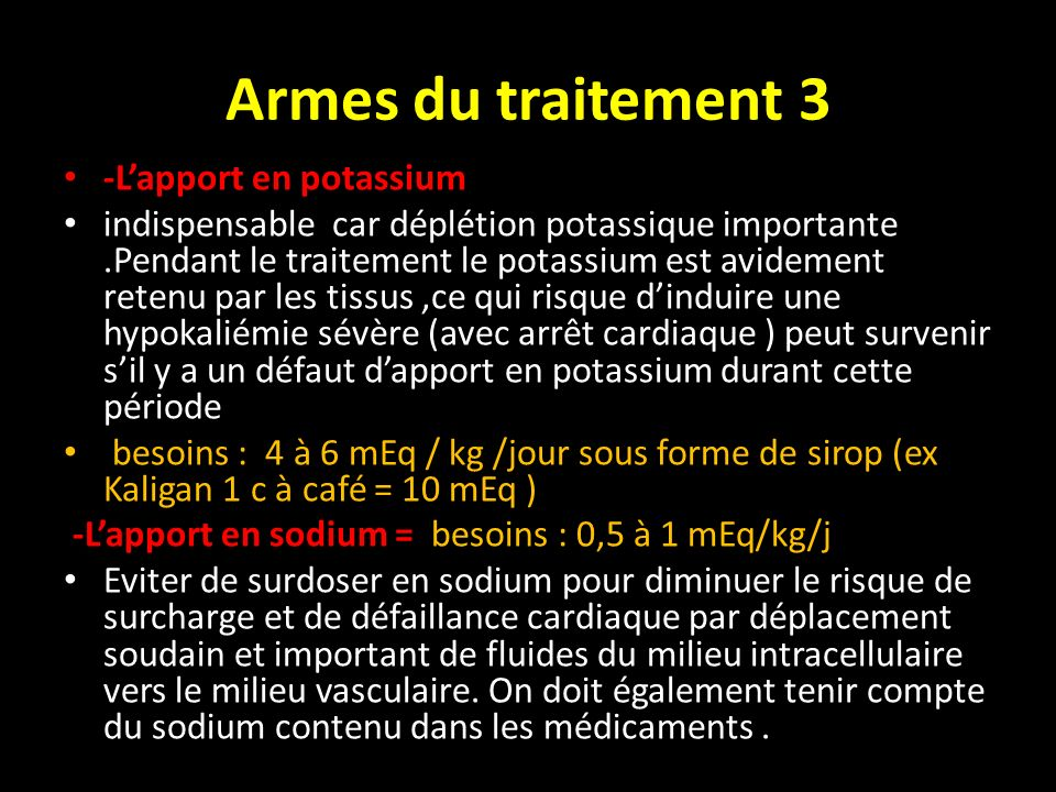 Armes du traitement 3 -L'apport en potassium