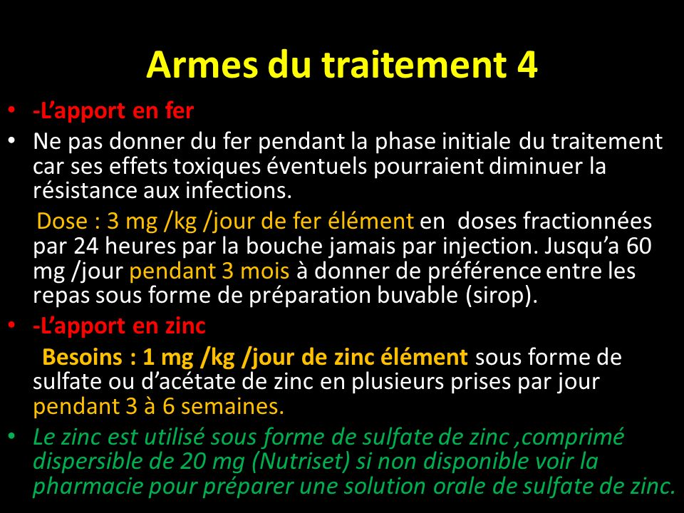Armes du traitement 4 -L'apport en fer