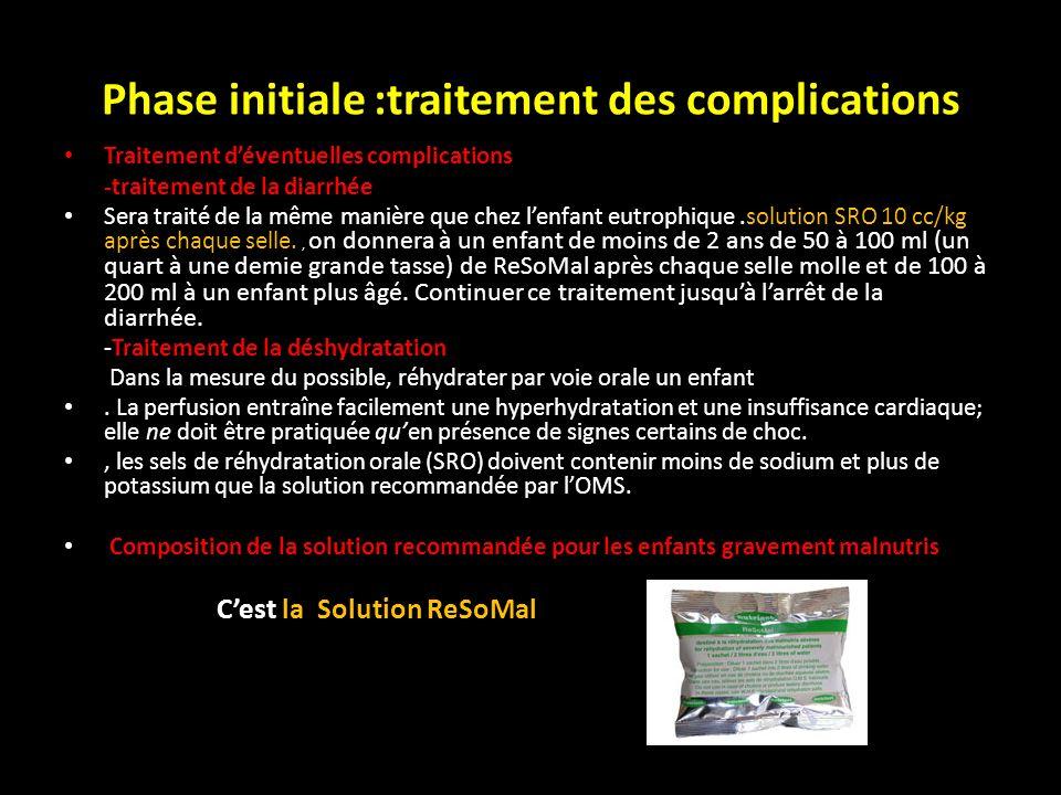 Phase initiale :traitement des complications