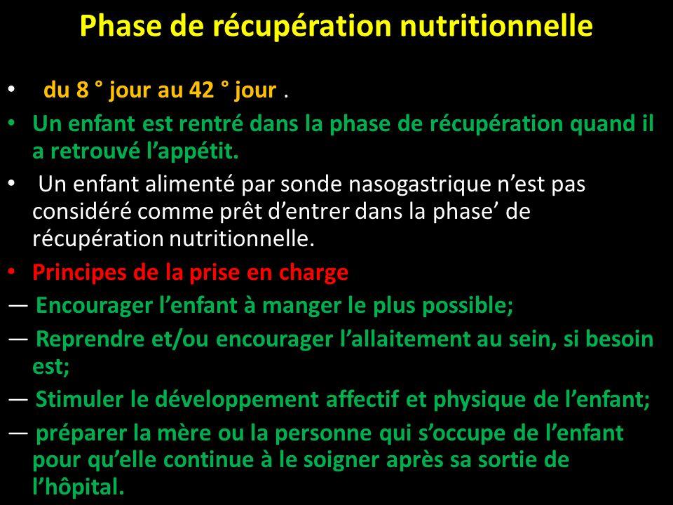 Phase de récupération nutritionnelle