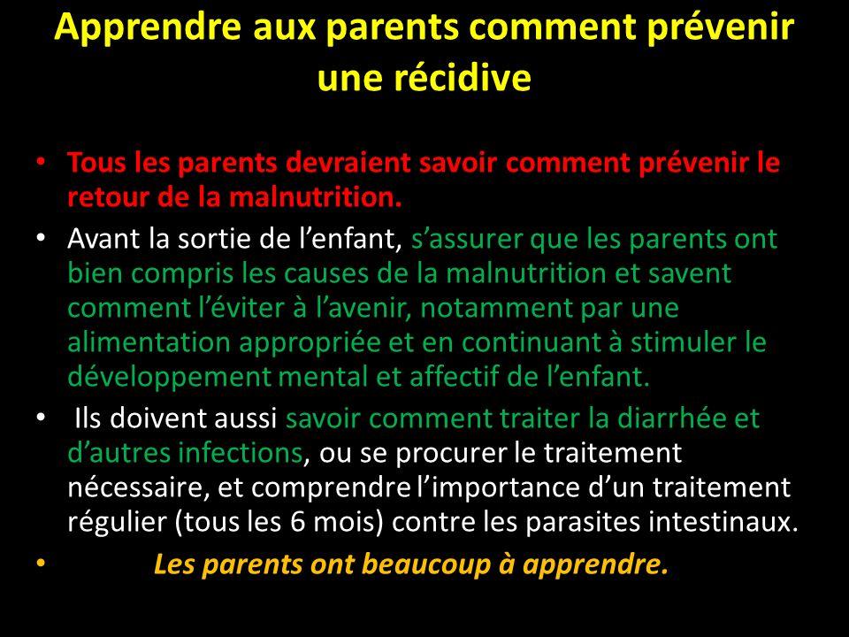 Apprendre aux parents comment prévenir une récidive