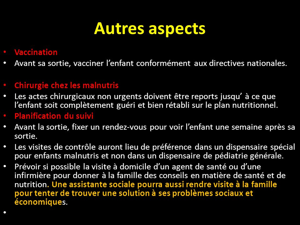 Autres aspects Vaccination