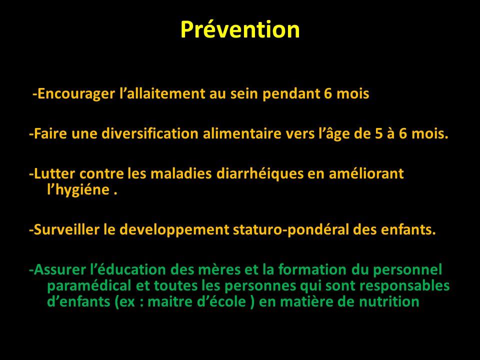 Prévention -Encourager l'allaitement au sein pendant 6 mois