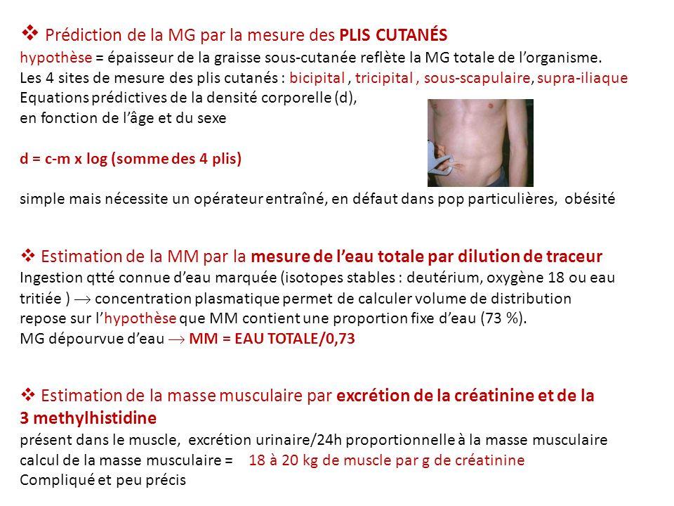 Prédiction de la MG par la mesure des PLIS CUTANÉS