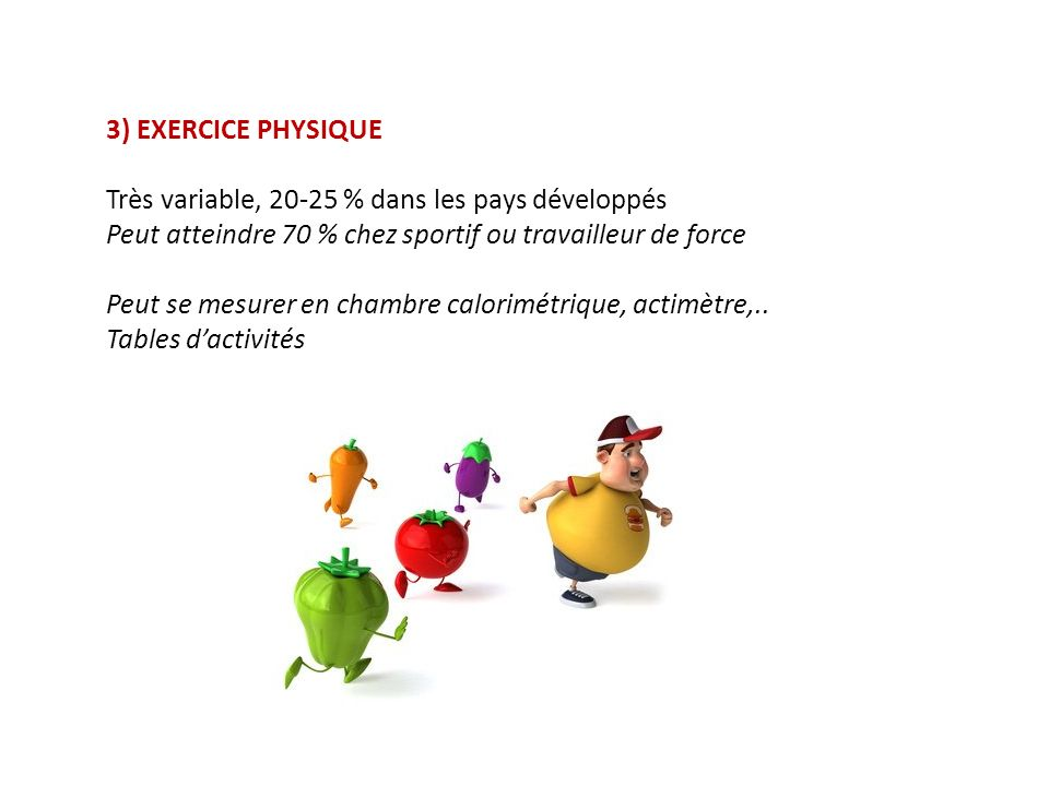 3) EXERCICE PHYSIQUE Très variable, 20-25 % dans les pays développés. Peut atteindre 70 % chez sportif ou travailleur de force.