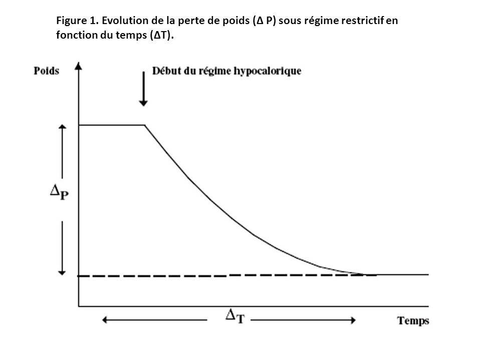 Figure 1. Evolution de la perte de poids (Δ P) sous régime restrictif en fonction du temps (ΔT).