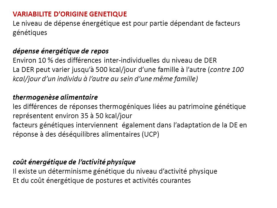 VARIABILITE D'ORIGINE GENETIQUE