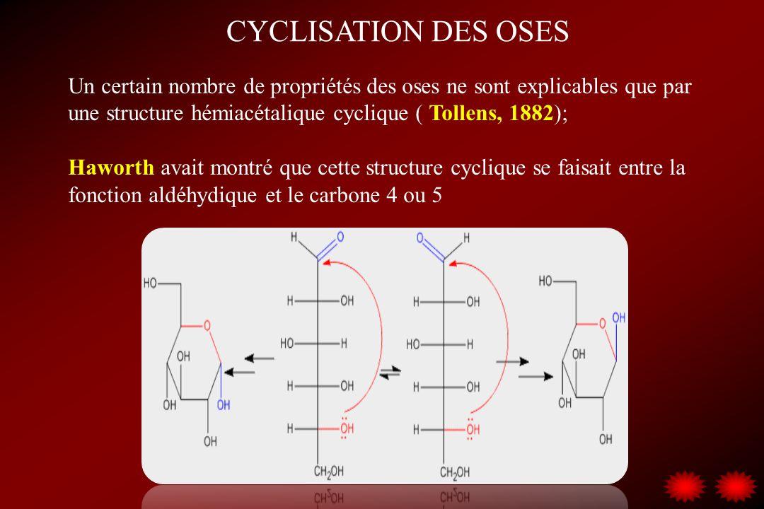 CYCLISATION DES OSES Un certain nombre de propriétés des oses ne sont explicables que par une structure hémiacétalique cyclique ( Tollens, 1882);