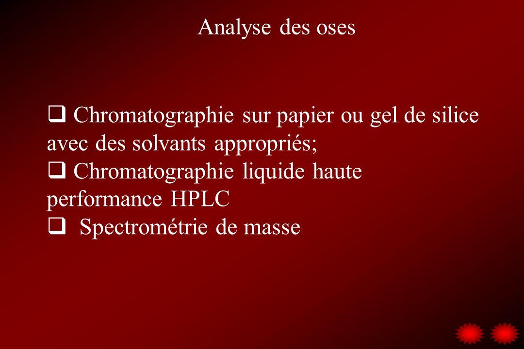 Analyse des oses Chromatographie sur papier ou gel de silice avec des solvants appropriés; Chromatographie liquide haute performance HPLC.