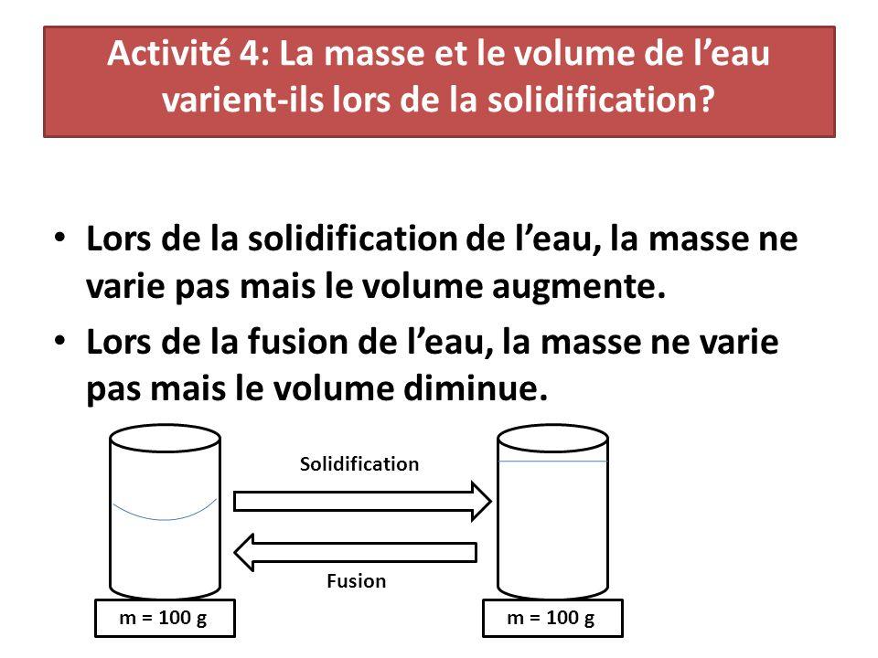 Activité 4: La masse et le volume de l'eau varient-ils lors de la solidification