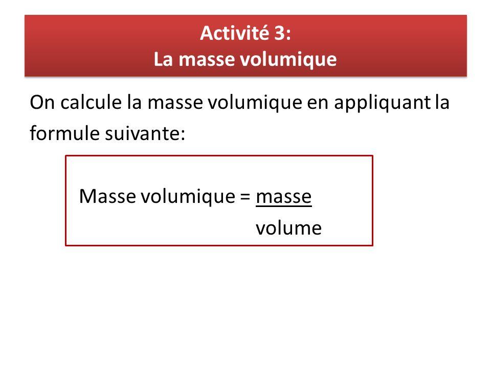 Activité 3: La masse volumique