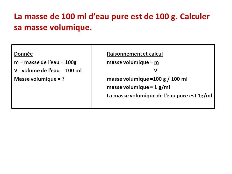 La masse de 100 ml d'eau pure est de 100 g. Calculer sa masse volumique.