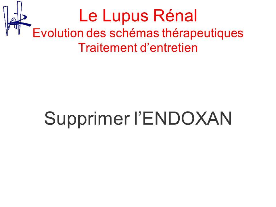 Le Lupus Rénal Evolution des schémas thérapeutiques Traitement d'entretien