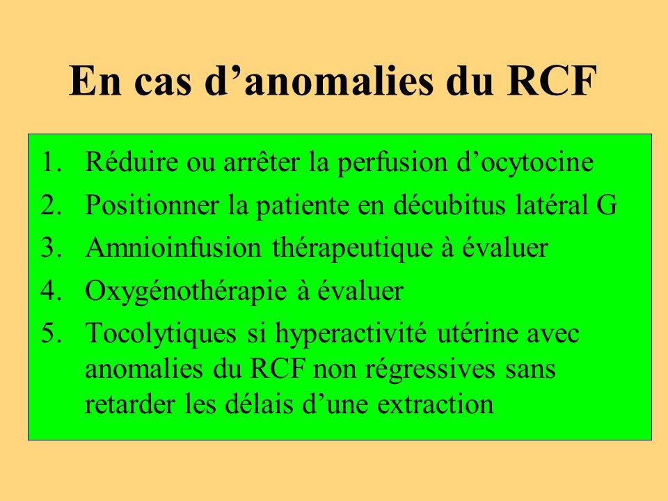 En cas d'anomalies du RCF