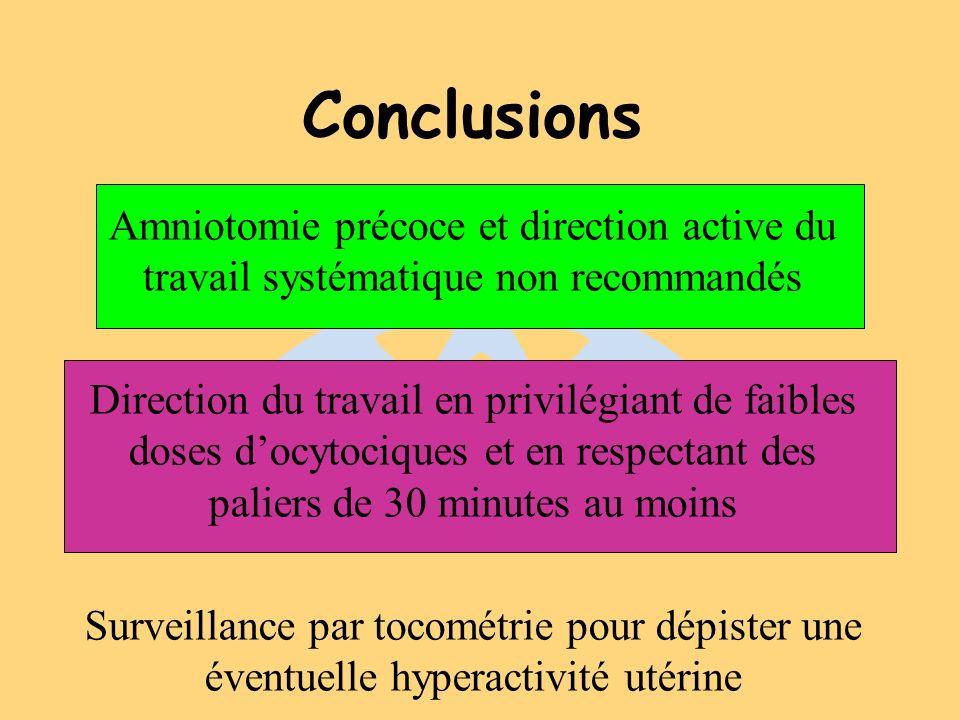 Conclusions Amniotomie précoce et direction active du travail systématique non recommandés.
