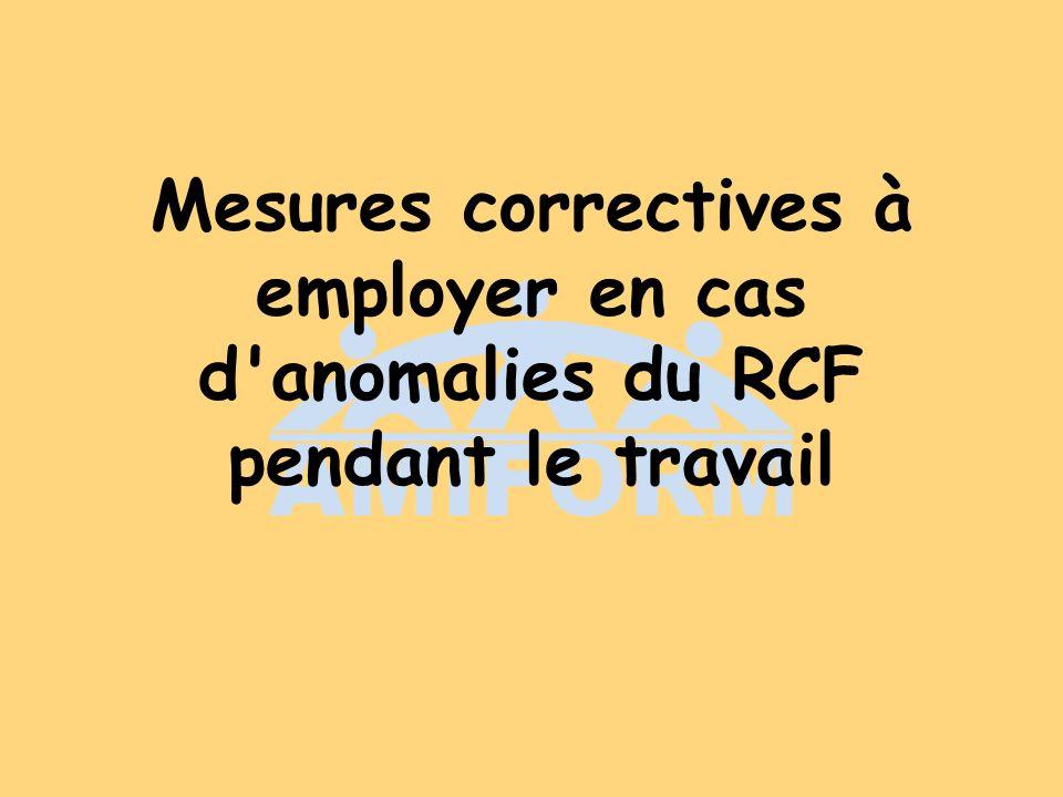 Mesures correctives à employer en cas d anomalies du RCF pendant le travail