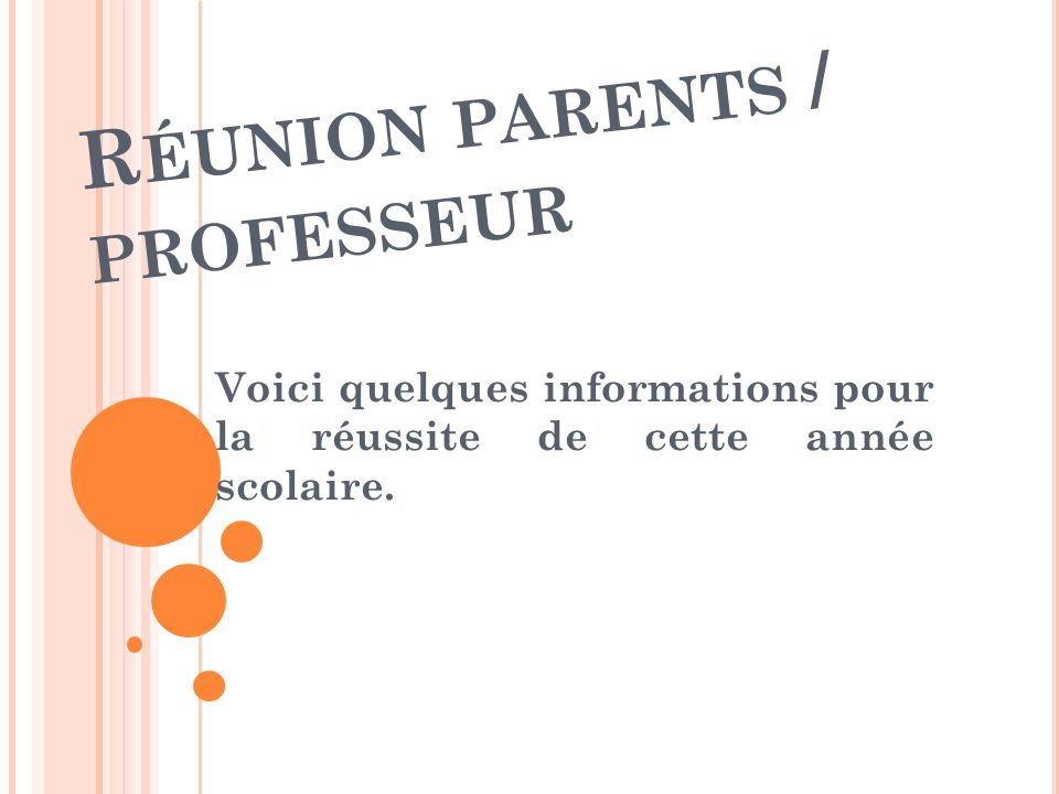 Réunion parents / professeur