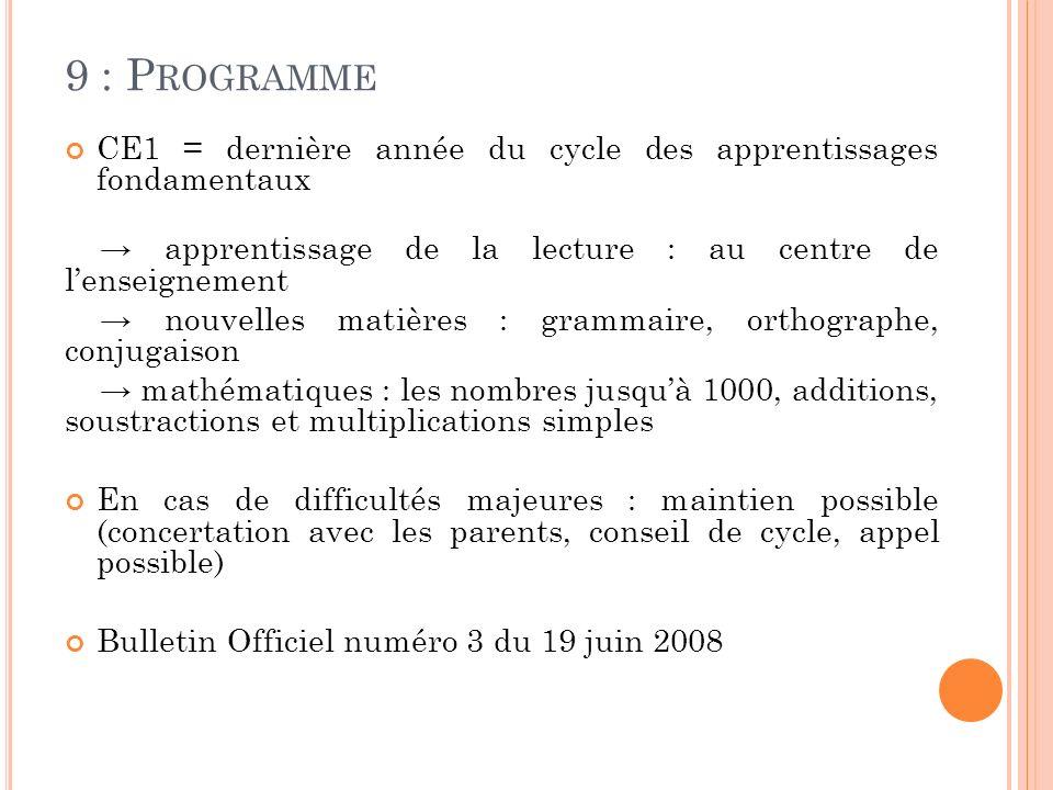 9 : Programme CE1 = dernière année du cycle des apprentissages fondamentaux. → apprentissage de la lecture : au centre de l'enseignement.