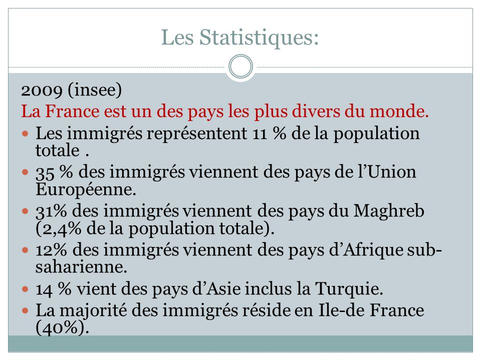Les Statistiques: 2009 (insee)