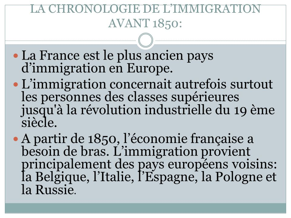 LA CHRONOLOGIE DE L'IMMIGRATION AVANT 1850:
