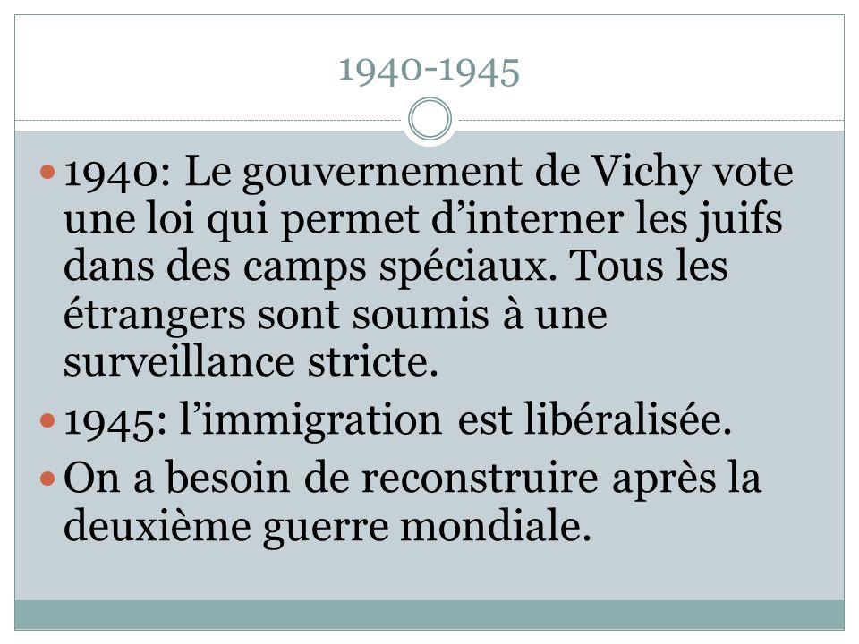 1945: l'immigration est libéralisée.