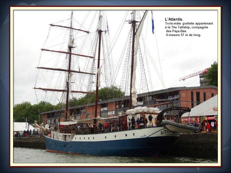 L Atlantis. Trois-mâts goélette appartenant à la The Tallship, compagnie.