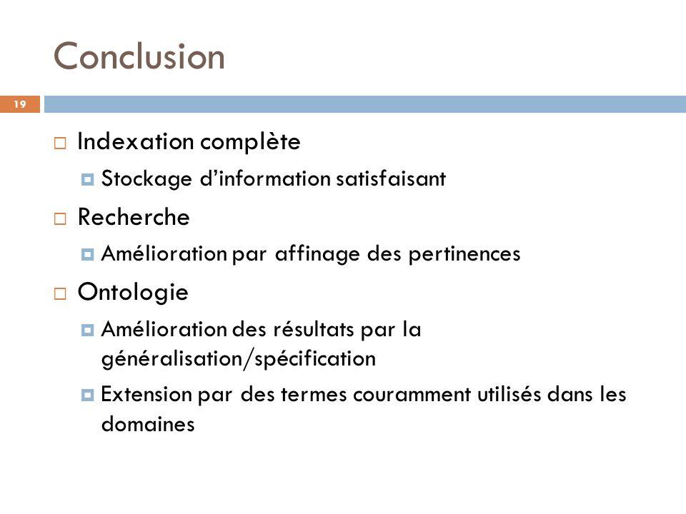 Conclusion Indexation complète Recherche Ontologie