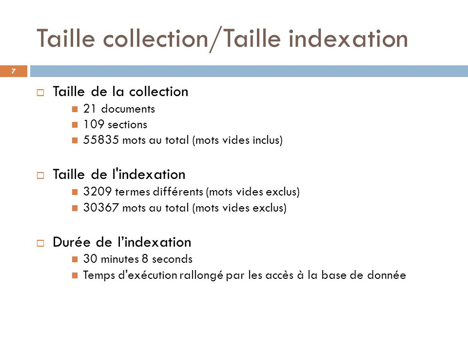 Taille collection/Taille indexation