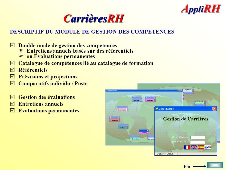 CarrièresRH DESCRIPTIF DU MODULE DE GESTION DES COMPETENCES