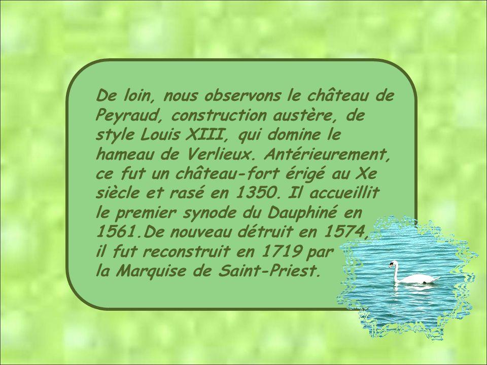 De loin, nous observons le château de Peyraud, construction austère, de style Louis XIII, qui domine le hameau de Verlieux. Antérieurement, ce fut un château-fort érigé au Xe siècle et rasé en 1350. Il accueillit le premier synode du Dauphiné en 1561.De nouveau détruit en 1574,