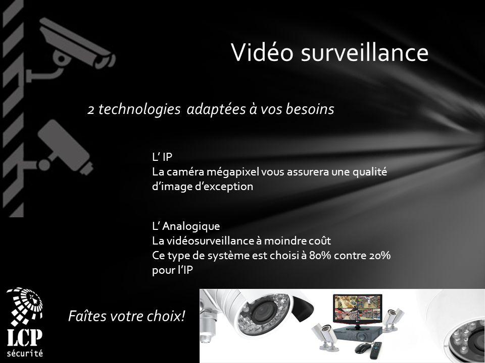 Vidéo surveillance 2 technologies adaptées à vos besoins
