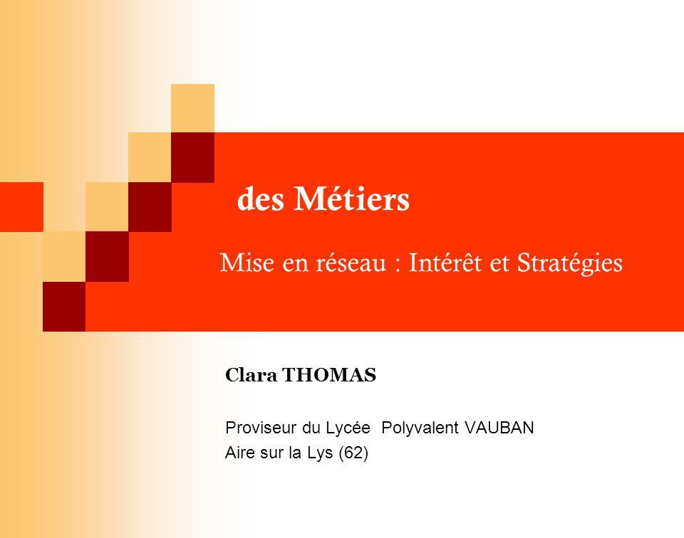 des Métiers Mise en réseau : Intérêt et Stratégies
