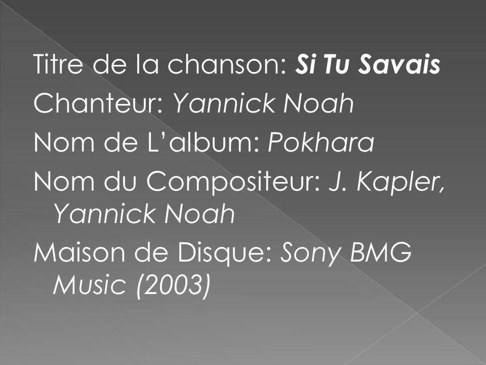 Titre de la chanson: Si Tu Savais Chanteur: Yannick Noah Nom de L'album: Pokhara Nom du Compositeur: J.