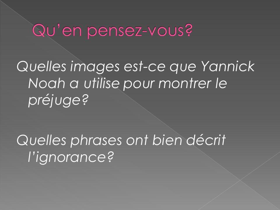 Qu'en pensez-vous. Quelles images est-ce que Yannick Noah a utilise pour montrer le préjuge.