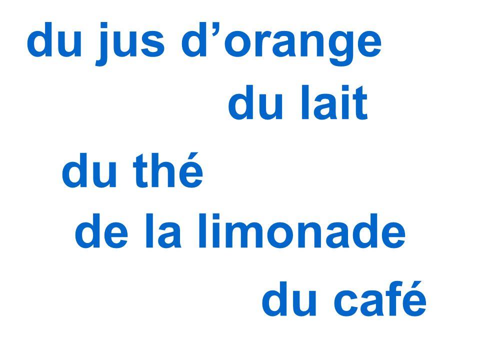 du jus d'orange du lait du thé de la limonade du café