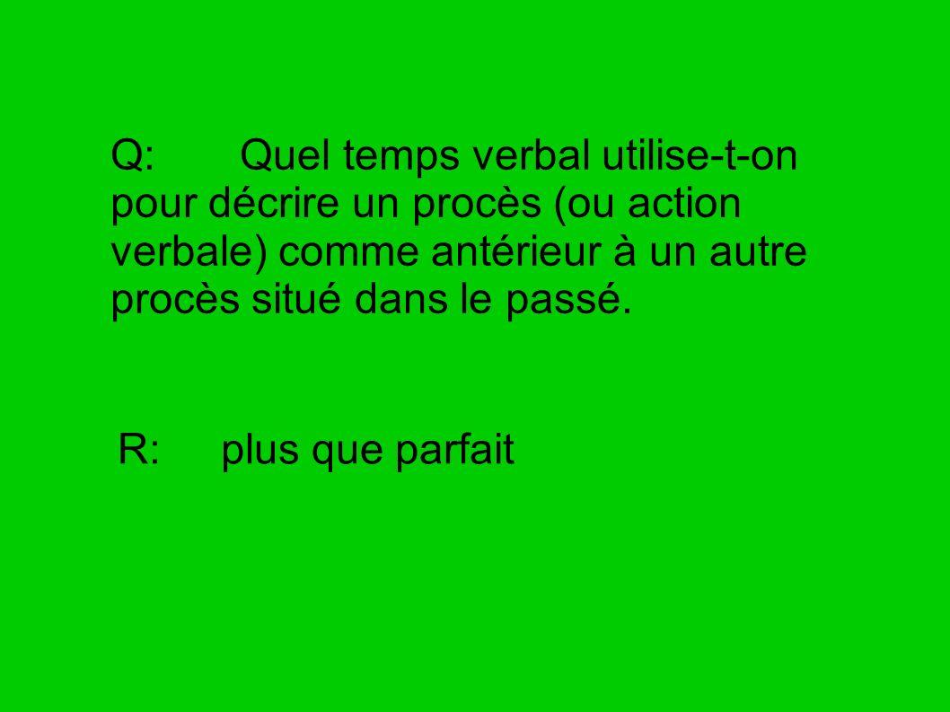Q: Quel temps verbal utilise-t-on pour décrire un procès (ou action verbale) comme antérieur à un autre procès situé dans le passé.