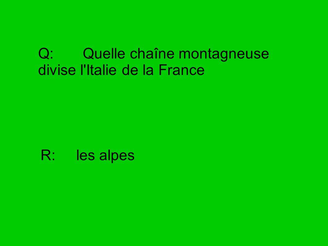 Q: Quelle chaîne montagneuse divise l Italie de la France