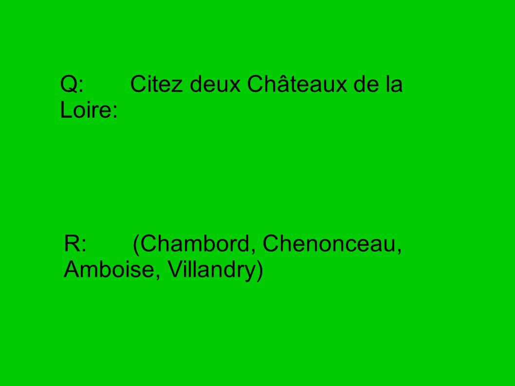 Q: Citez deux Châteaux de la Loire: