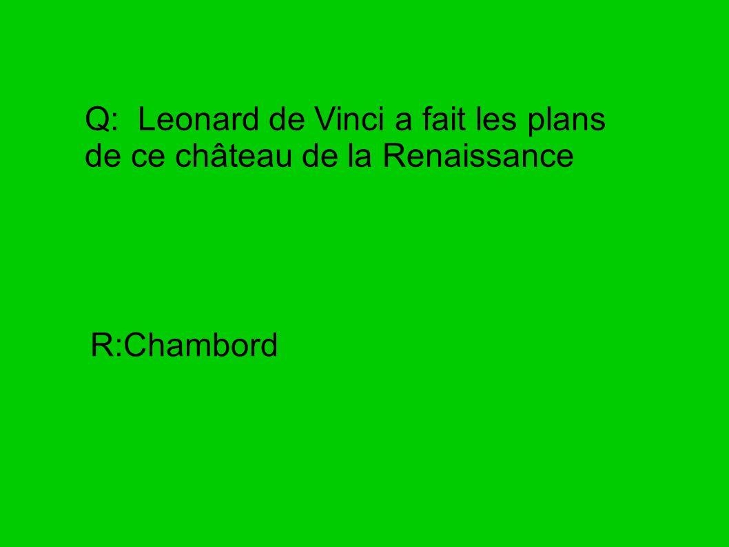Q: Leonard de Vinci a fait les plans de ce château de la Renaissance