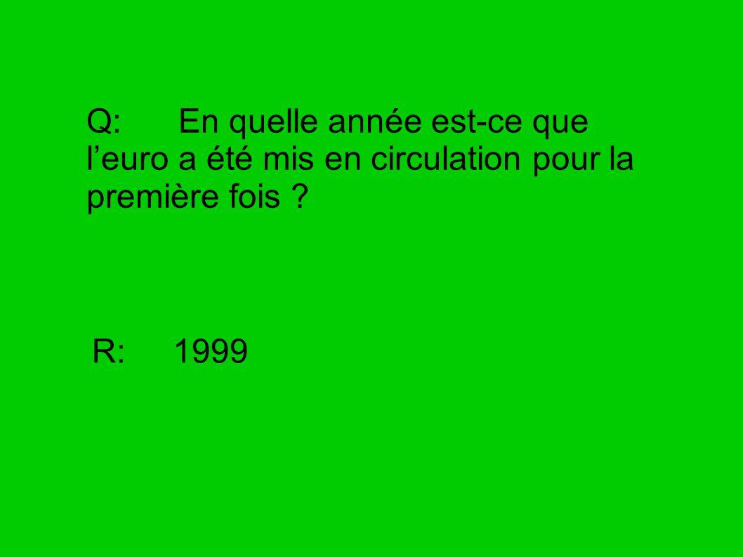 Q: En quelle année est-ce que l'euro a été mis en circulation pour la première fois