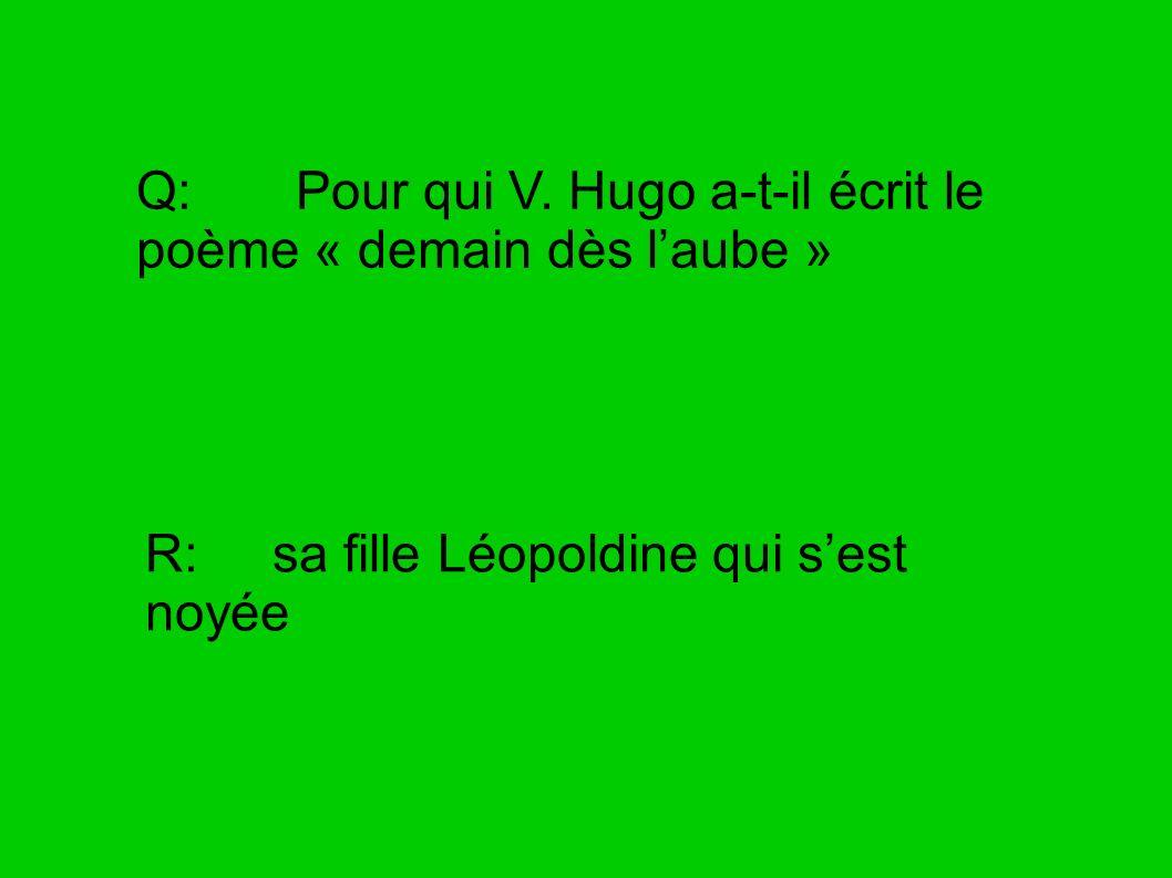 Q: Pour qui V. Hugo a-t-il écrit le poème « demain dès l'aube »