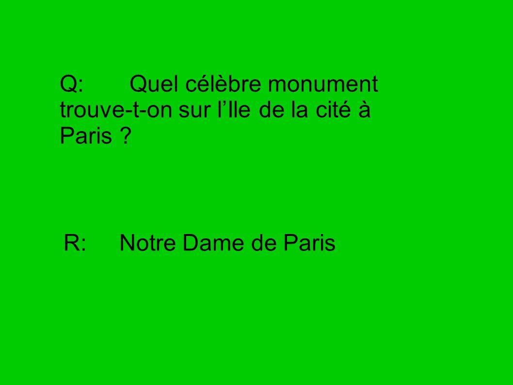 Q: Quel célèbre monument trouve-t-on sur l'Ile de la cité à Paris