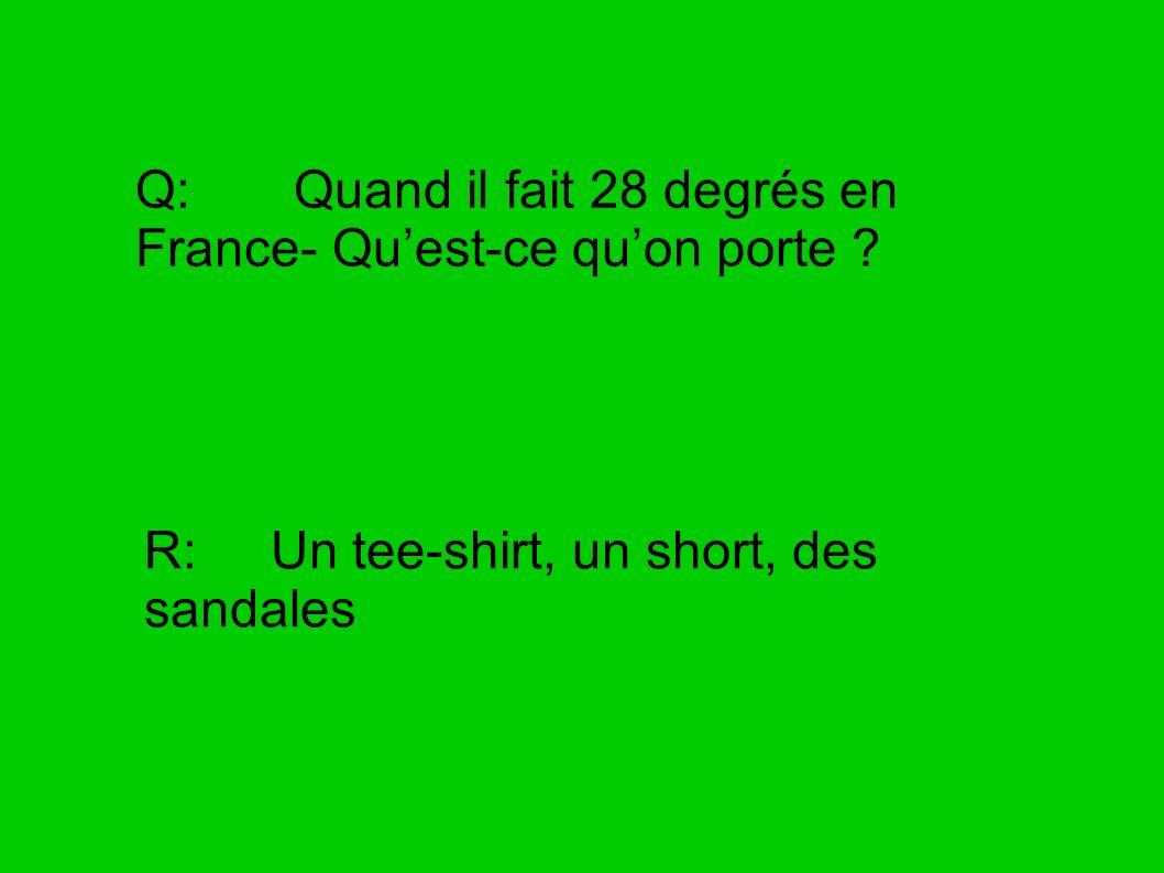Q: Quand il fait 28 degrés en France- Qu'est-ce qu'on porte