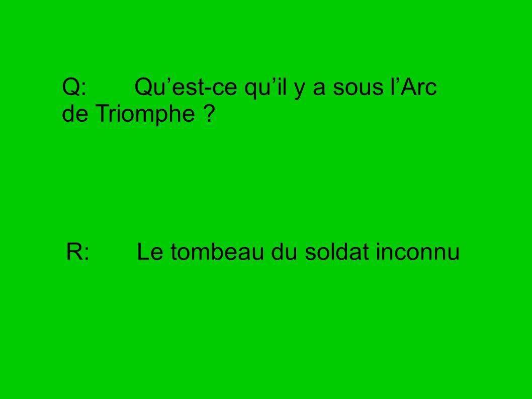 Q: Qu'est-ce qu'il y a sous l'Arc de Triomphe