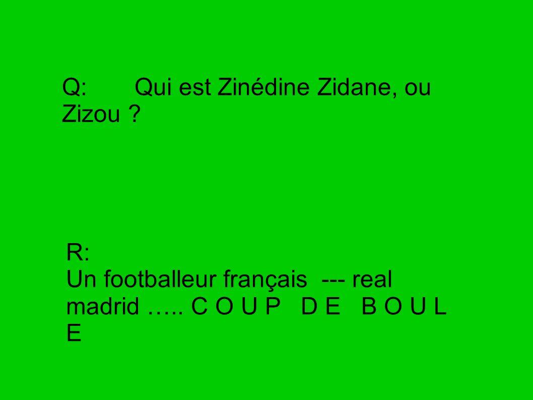 Q: Qui est Zinédine Zidane, ou Zizou