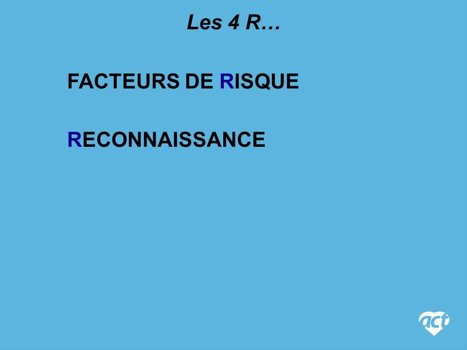 Les 4 R… FACTEURS DE RISQUE RECONNAISSANCE