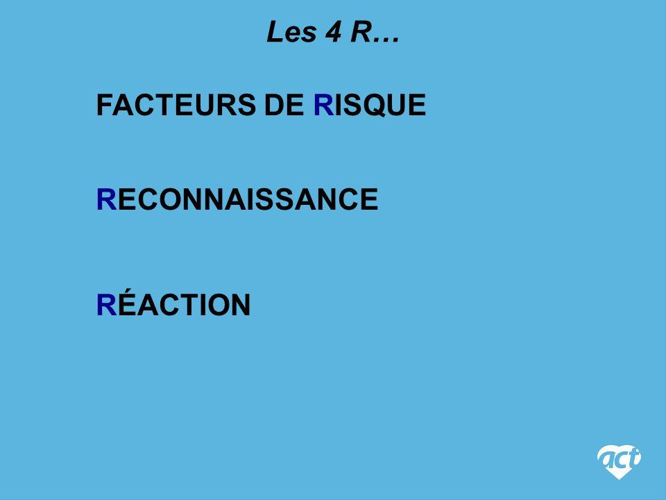 Les 4 R… FACTEURS DE RISQUE RECONNAISSANCE RÉACTION