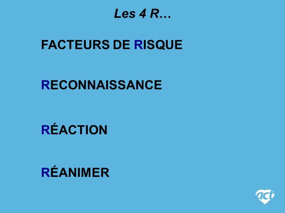 Les 4 R… FACTEURS DE RISQUE RECONNAISSANCE RÉACTION RÉANIMER